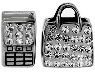 Link Up Sterling Silver Phone and Bag Crystal Charms