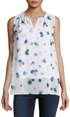 Liz Claiborne Sleeveless Split Neck Top - Tall