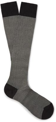Pantherella Fabian Herringbone Cotton-Blend Over-the-Calf Socks $30 thestylecure.com