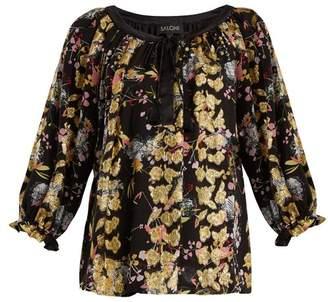 Saloni - Polly Floral Jacquard Blouse - Womens - Black Gold