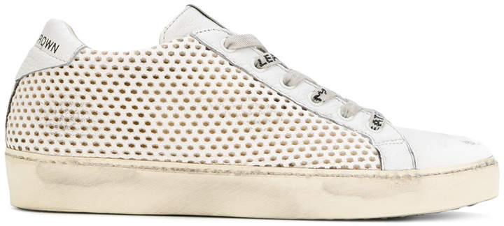 Leather Crown embroidered sneakers