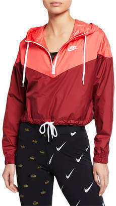 aa5e8652d8f81 Nike Two-Tone Cropped Hooded Wind-Resistant Jacket