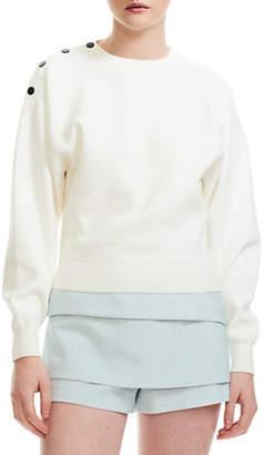 Maje Marlina Button-Shoulder Sweater