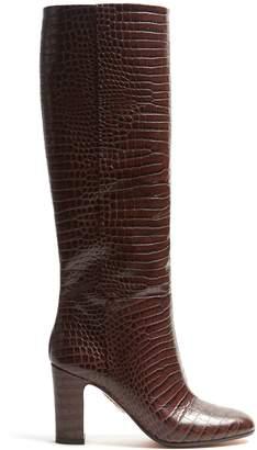 Aquazzura Brera 90 block-heel crocodile-effect leather boots