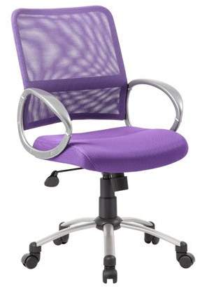 Boss Office Products B6416-PR Mesh Back with Pewter Finish Task Chair, Traditional