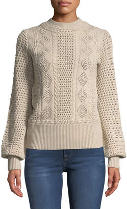 See by Chloe High-Neck Balloon-Sleeve Knit Pullover Sweater