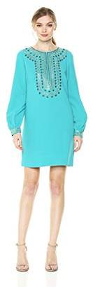 Trina Turk Women's Kapono Long Sleeve Embellished Classic Crepe Dress