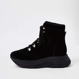 River Island Womens Black lace-up runner sole boots