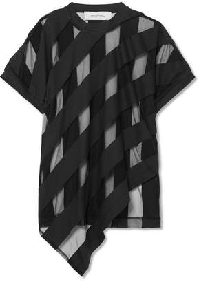 Marques Almeida Marques' Almeida - Striped Devoré-chiffon T-shirt - Black