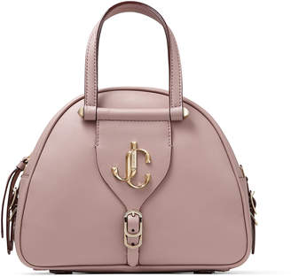 Jimmy Choo VARENNE BOWLING/S Mauve Calf Leather Bowling Bag with Gold JC Logo