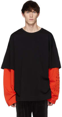 Juun.J SSENSE Exclusive Black and Orange Layered Long Sleeve T-Shirt