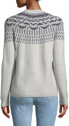 Neiman Marcus Fair Isle Long-Sleeve Pullover Sweater