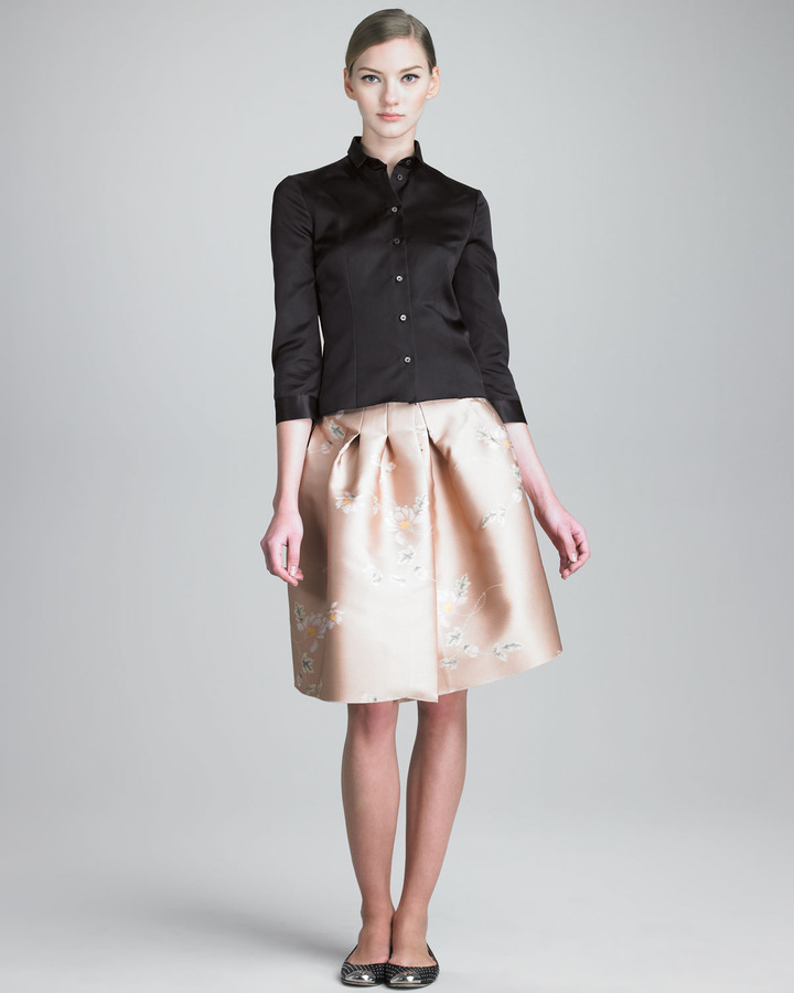 Jil Sander Navy Full Skirt with Stitched-Down Pleats