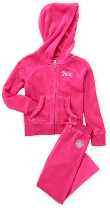 Juicy Couture Girls 4-6x) 2-Piece Hot Pink Velour Sweatsuit
