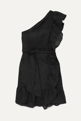 Etoile Isabel Marant Teller One-shoulder Ruffled Linen Mini Dress - Black