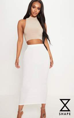 PrettyLittleThing Shape Cream Longline Midi Skirt