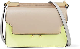 Marni Trunk Micro Color-block Textured-leather Shoulder Bag - Taupe