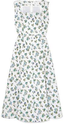Erdem Polly Floral-jacquard Midi Dress - White