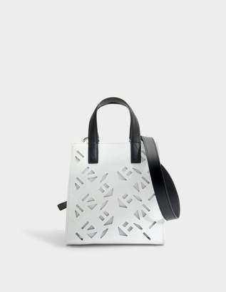 Kenzo Flying Logo Essentials Mini Tote Bag in White Gummy Leather
