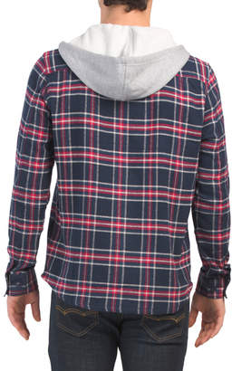 Hooded Flannel Zip Front Shirt