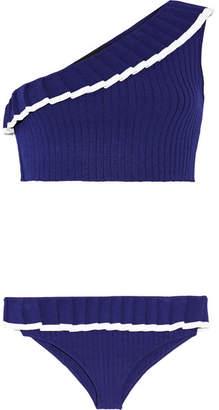 Tabula Rasa - Aracari One-shoulder Ribbed-knit Bikini - Storm blue