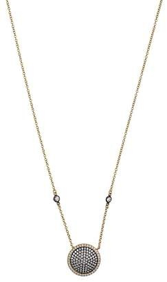 Freida Rothman 14K Gold & Black Rhodium Plated Pave CZ Disc Pendant Necklace