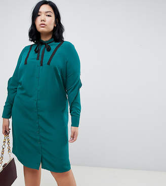 Junarose button detail mini tea dress in teal with bow tie