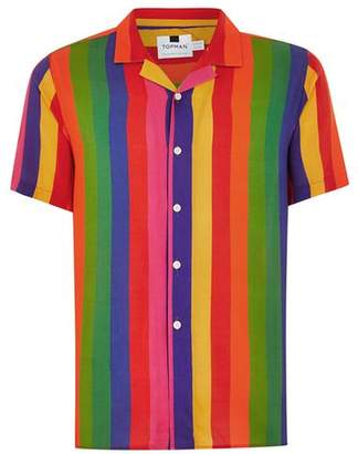 Topman Mens Multi Rainbow Stripe Short Sleeve Shirt