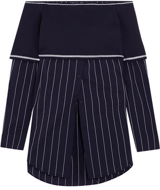 DKNY - Off-the-shoulder Stretch-knit And Poplin Top - Navy $300 thestylecure.com