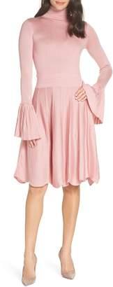 CAARA Pleated Cuff Sweater Dress