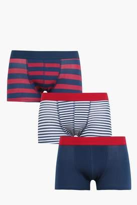 boohoo 3 Pack Stripe Hipster Trunks