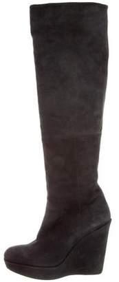 Stuart Weitzman Suede Wedge Knee-High Boots