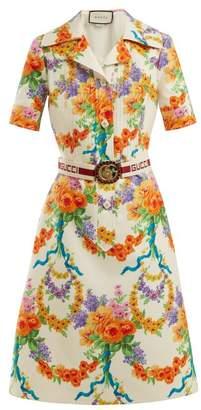 Gucci Floral Print Wool Blend Dress - Womens - Multi