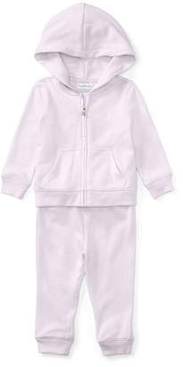 Ralph Lauren Atlantic French Terry Zip-Up Hoodie w/ Sweatpants, Multi, Size 9-24 Months