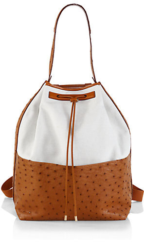 The Row Ostrich & Linen Backpack
