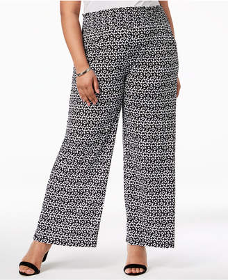 NY Collection Plus Size Printed Wide-Leg Pants