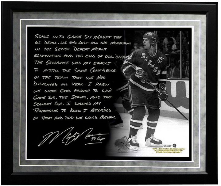 "Steiner Sports New York Rangers Mark Messier 1994 Stanley Cup Guarantee Facsimile 16"" x 20"" Framed Metallic Story Photo"