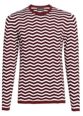 Emporio Armani Men's Zigzag Crewneck Sweater - Red White - Size Large