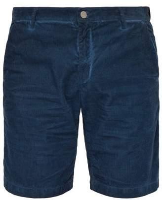 Massimo Alba Watercolour Cotton Corduroy Shorts - Mens - Blue
