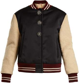 NO. 21 Contrast-sleeve satin and faux-shearling jacket