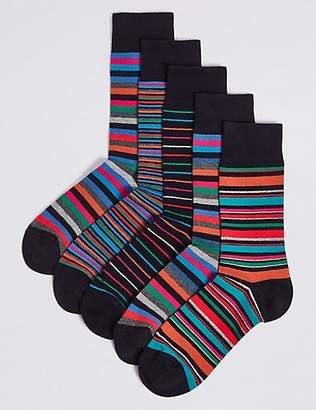 M&S Collection 5 Pack Cool & FreshfeetTM Striped Socks