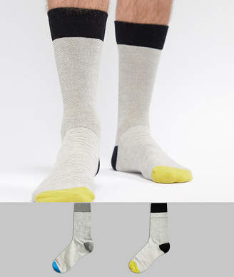 Selected 2 Pack Socks With Heel Color Pop