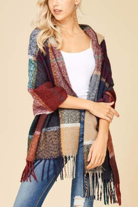 Papermoon Clothing Plaid Hooded Shawl-Wrap
