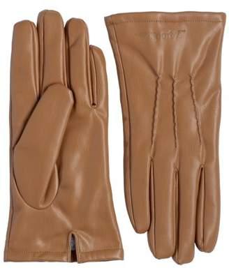 Sportoli Men's PU Leather Warm Winter One-Piece Leather Gloves with Imitation Fur Inside Lining