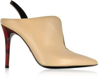 Roberto Cavalli Nude And Black Patent Leather Slingback Pumps W/red Python Heel