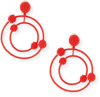 Oscar de la Renta Beaded Orbits Clip-On Hoop Drop Earrings