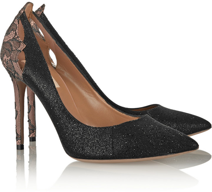 Valentino Embellished lace-covered leather pumps