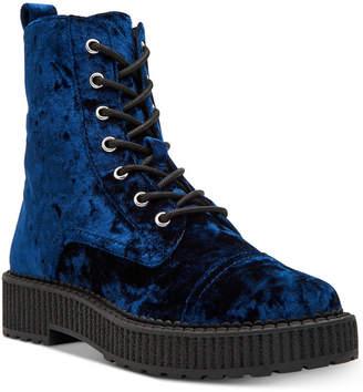 Katy Perry Gia Velvet Combat Booties Women's Shoes
