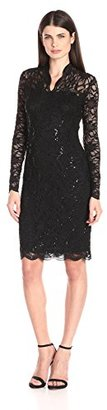 Marina Women's Long-Sleeve Lace Sequin Dress $99 thestylecure.com