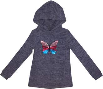 Preview Little Girl's Girl's Butterfly Heathered Hoodie